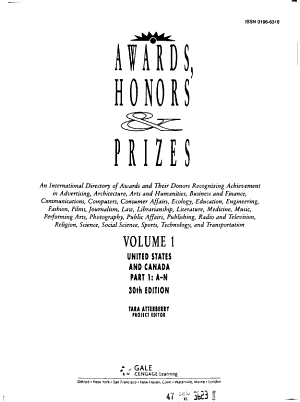 Awards  Honors   Prizes