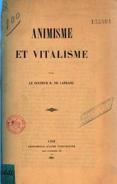 Animisme et vitalisme