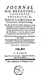 Journal de médecine, de chirurgie et de pharmacie: Volume 34