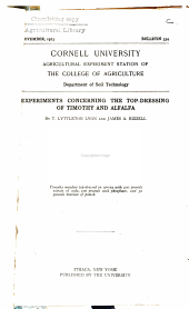 Experiments Concerning the Top-dressing of Timothy and Alfalfa