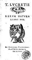 De rerum natura libri sex PDF