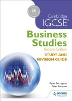Cambridge IGCSE Business Studies Study and Revision Guide 2nd edition PDF