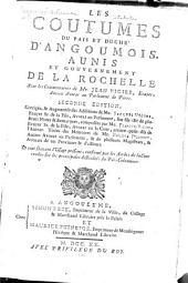 Les coutumes du pais et duché d'Angoumois, Aunis et gouvernement de La Rochelle