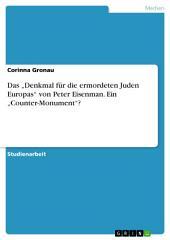 """Das """"Denkmal für die ermordeten Juden Europas"""" von Peter Eisenman. Ein """"Counter-Monument""""?"""