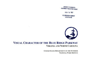 Visual Character of the Blue Ridge Parkway  Virginia and North Carolina PDF