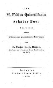 Des Fabius Quintilianus Zehntes Buch