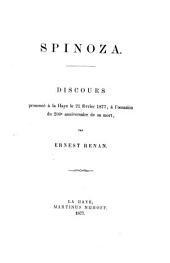 Spinoza: discours prononcé à la Haye le 21 février 1877, à l'occasion du 200e anniversaire de sa mort