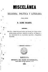 Miscelánea religiosa, política y literaria