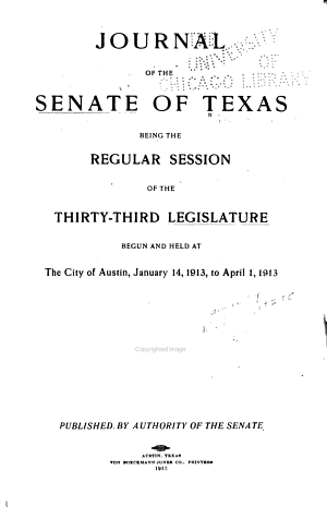 Journal of the Senate of Texas ...