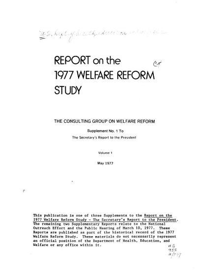 Report on the 1977 Welfare Reform Study PDF