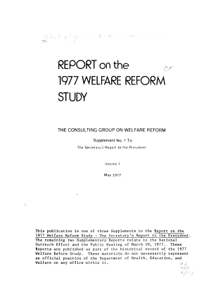 Report On The 1977 Welfare Reform Study