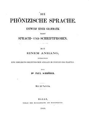 Die ph  nizische sprache PDF