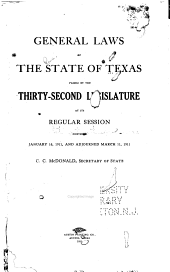 General Laws of the State of Texas: Volume 1