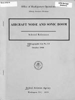 Aircraft Noise and Sonic Boom PDF