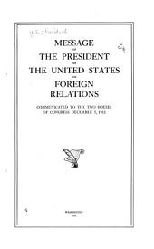 Message of the President of the United States on Foreign Relations