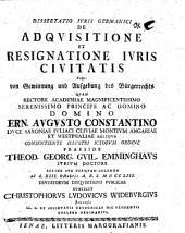 Diss. iuris Germ. de adquisitione et resignatione iuris civitatis