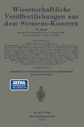 Wissenschaftliche Veröffentlichungen aus dem Siemens-Konzern: IV. Band. Zweites Heft