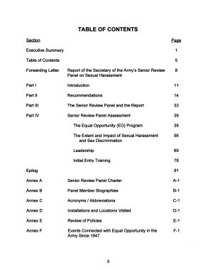 The Secretary of the Army s Senior Review Panel Report on Sexual Harassment  Without separate title