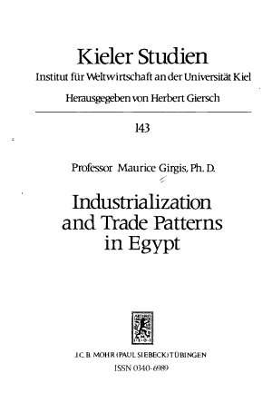 Industrialization and Trade Patterns in Egypt PDF