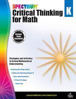 Spectrum Critical Thinking For Math Grade K