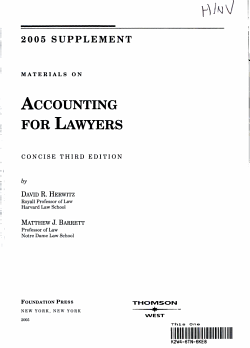 Accounting for Lawyers Materials Concise 2005 Supplement PDF