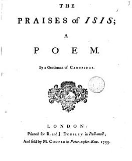 The Praises of Isis  a Poem  By a Gentleman of Cambridge Book