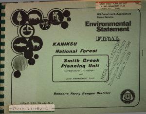 Kaniksu National Forest  N F    Smith Creek Planning Unit PDF