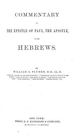 Commentary on the Epistle of Paul  the Apostle  to the Hebrews PDF