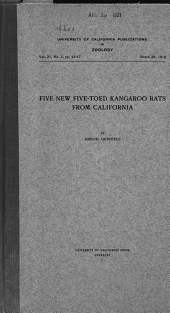 Five New Five-toed Kangaroo Rats from California: Volume 21