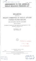 Amendments to the American Indian Religious Freedom Act