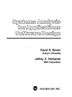 Systems Analysis for Applications Software Design