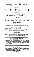 Doctor and Student  or  Dialogues between a Doctor of Divinity and a Student in the Laws of England     To which is now added an account of the author  etc PDF