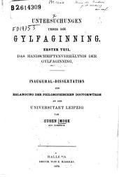 Untersuchungen ueber die Gylfaginning: Erster Teil: Das Handschriftenverhaltnis der Gylfaginning