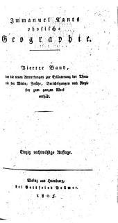 Immanuel Kant's physische Geographie: Neue Anmerkungen zur Erläuterung der Theorie der Winde, 1805