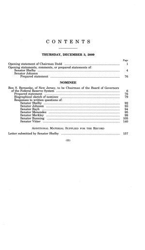 Nomination of Ben S  Bernanke