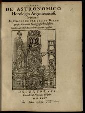 Carmen de astronomico horologio Argentoratensi: Item de eodem Schediasma