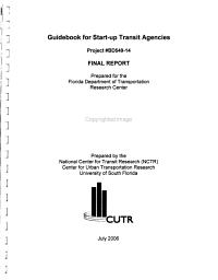 Guidebook for Start up Transit Agencies