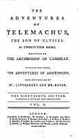 The Adventures of Telemachus     To which are Added  The Adventures of Aristonous  Done Into English by Mr  Litterbury  sic  and Mr  Boyer  The Nineteenth Edition  Carefully Revised and Corrected  Etc PDF