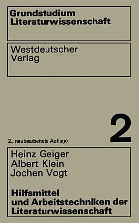 Hilfsmittel und Arbeitstechniken der Literaturwissenschaft PDF