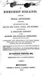 Biography Of Stephen Girard Book PDF
