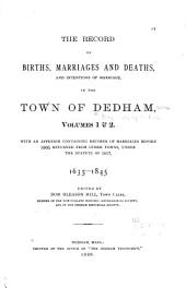 Early Records of Dedham, Massachusetts: Volume 1