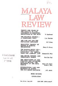 Malaya Law Review