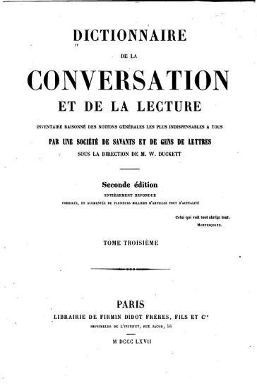 Dictionnaire de la conversation et de la lecture inventaire raisonn   PDF
