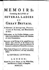 Memoirs: containing the lives of several ladies of Great Britain, a history of antiquities [&c.] in several letters [by T. Amory].