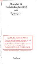 Materialien zu Hegels Rechtsphilosophie PDF