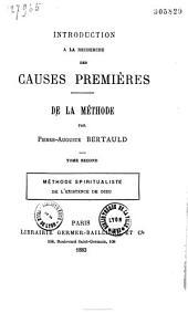 Introduction à la recherche des causes premières