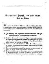 Verordnung des Königs Maximilian Joseph von Bayern betreffend die Bestimmung der künftigen Verhältnisse der der Königl. Souverainität unterworfenen Ritterschaft mit ihren Hintersassen zu den verschiedenen Zweigen der Staatsgewalt betreffend: München, am 31. December 1806