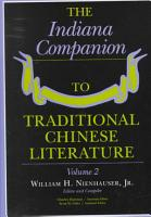 The Indiana Companion to Traditional Chinese Literature PDF