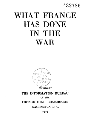 What France Has Done in the War   PDF