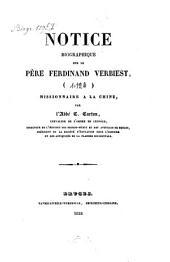 Notice biographique sur le père Ferdinand Verbiest, missionnaire à la Chine